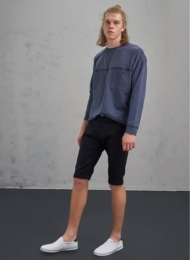 Pi π Slim Jean Şort Siyah